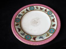 ANTIQUE HAND PAINTED SALAD PLATE MINTON ? LOZENGE 1867 PINK RIM BUTTERFLIES 3203